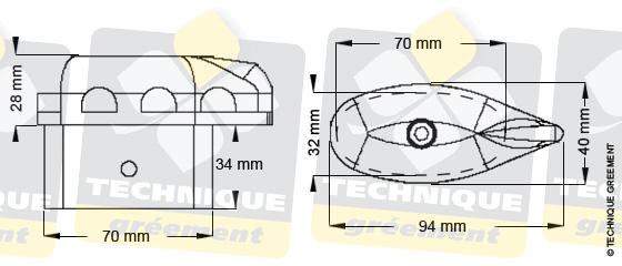 Dimensions embout barre de flèche ZSpars, Z3109