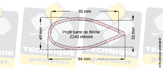 Dimensions barre de flèche Z240, pour embout barre de flèche Z3109