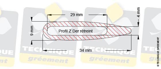 Dimensions barre de flèche dériveur Z Der, pour embout barre de flèche Z3112