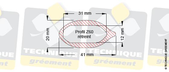 Dimensions barre de flèche Z60, pour embout barre de flèche Z3113
