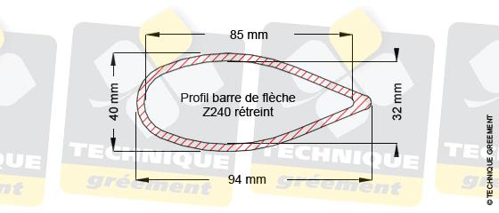 Dimensions barre de flèche Z240, pour embout barre de flèche Z3115