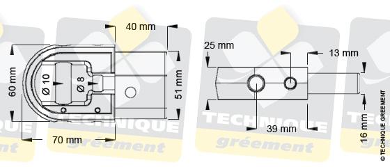 Dimensions embout barre de flèche ZSpars, Z3500