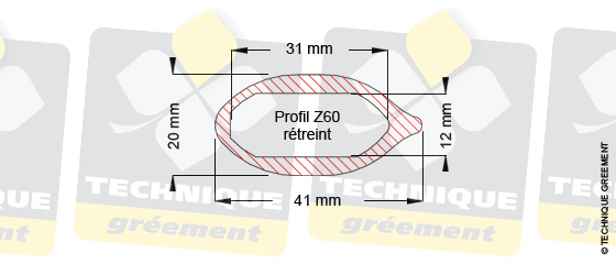 Dimensions barre de flèche Z60, pour embout barre de flèche Z3527