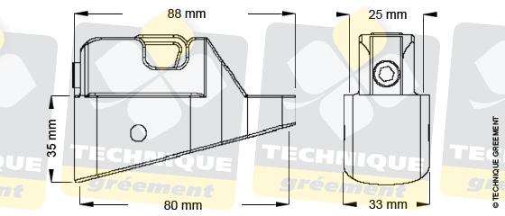 Dimensions embout barre de flèche ZSpars, Z3802