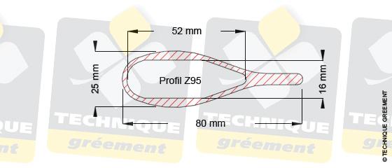 Dimensions barre de flèche Z95, pour embout barre de flèche Z3802