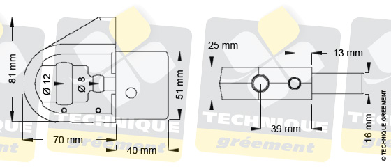 Dimensions embout barre de flèche ZSpars, Z3805