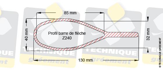 Dimensions barre de flèche Z240, pour embout barre de flèche Z3806