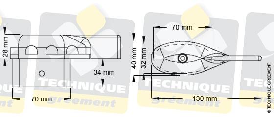 Dimensions embout barre de flèche ZSpars, Z3822