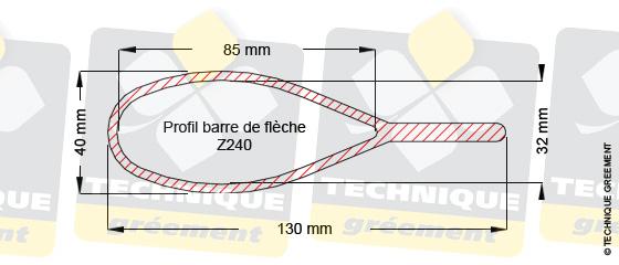 Dimensions barre de flèche Z240, pour embout barre de flèche Z3822